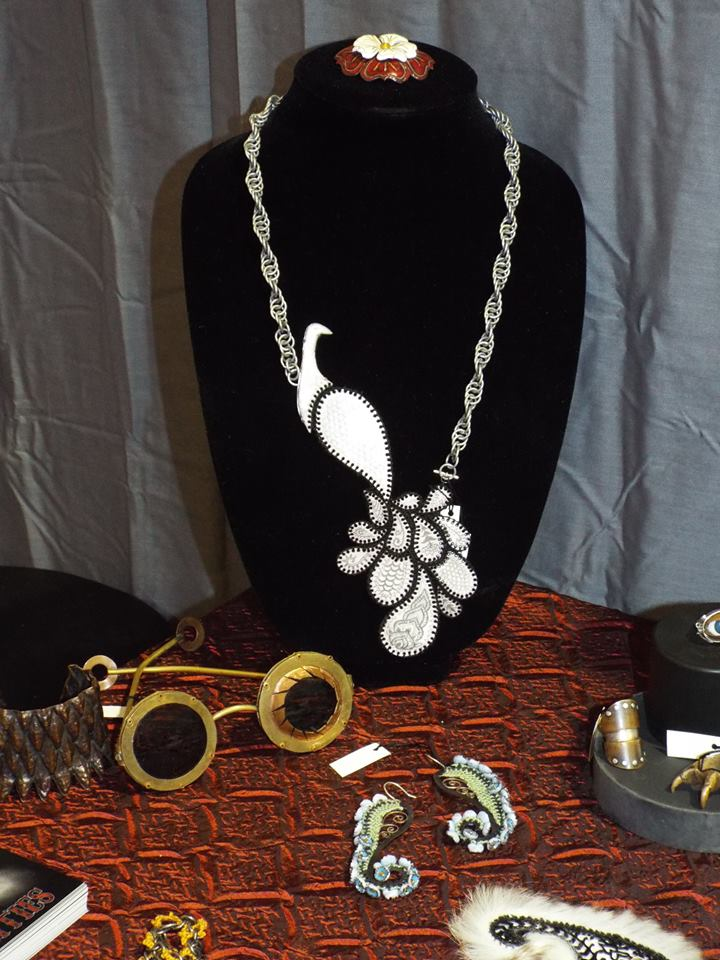 vintage jewelry display with necklace and earrings