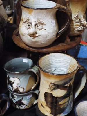 handmade pottery with face